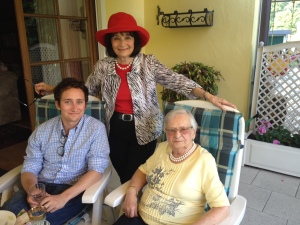 Eric and Anita Zwick and Ruth Dubber-Mezkalns celebrating Ruth's 100th Birthday