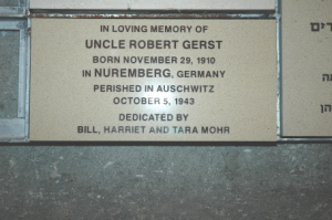 A stone placed at Yad Vashem, a memorial for Bill's uncle Robert Gerst, who was executed by hanging shortly after entering Auschwitz