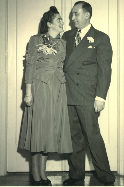 Elizabeth and Harry Weilheimer married on December 14, 1947. The ceremony took place in a rabbi's study, two and a half years after she was released from Auschwitz. Harry fled from Nuremberg to Cuba, with his parents and later they all immigrated to New York. Bill Mohr, age 12, was present along with other immediate family members.