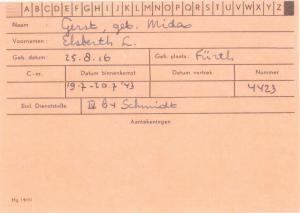 Elsbeth (Midas) Gerst  Scheveningen Prison Registration Card