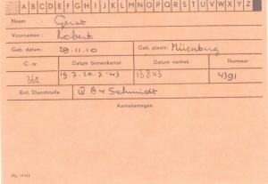 Robert Gerst Scheveningen Prison Registration Card