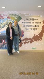 Lynda and Andrew Cassel at Narita Airport, Tokyo, Japan
