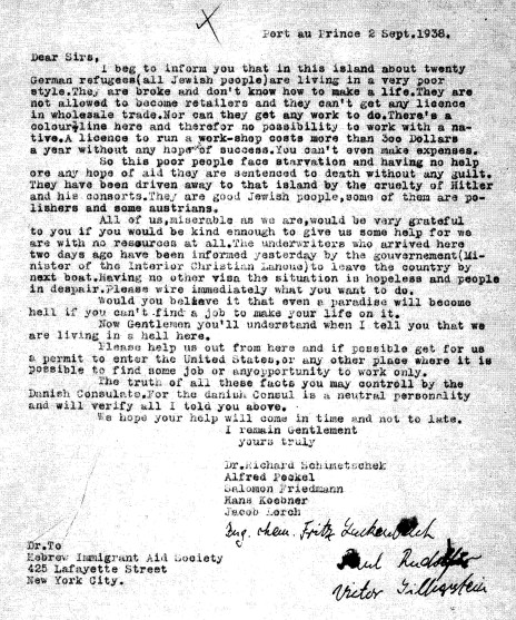 1938 letter from Haiti Refugees