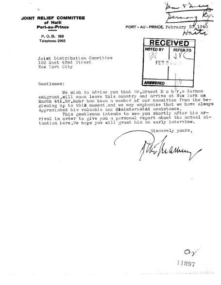 Ernest Mohr Intro Letter