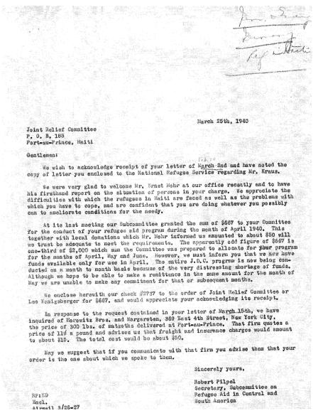 Ernest Mohr Meeting Letter